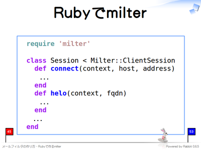 Rubyでmilter