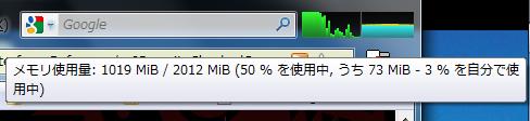 Firefoxのメモリ使用率の表示