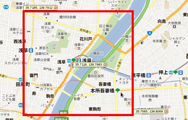 浅草周辺のたいやき屋をgeo_in_rectangle()で検索