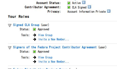 FASアカウントでCLAに同意した状態のスクリーンショット