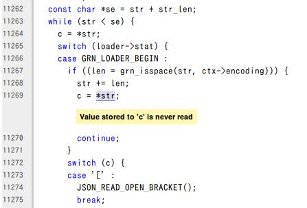 検出された問題点に対応するコードのスクリーンショット