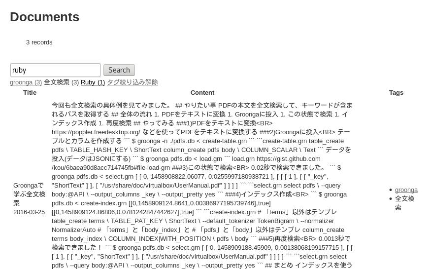 「全文検索」タグでドリルダウンして「ruby」で全文検索
