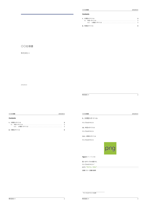 生成したPDFの複数ページプレビュー画像